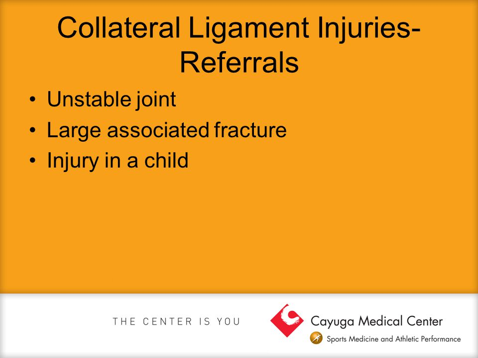 Collateral Ligament Injuries- Referrals