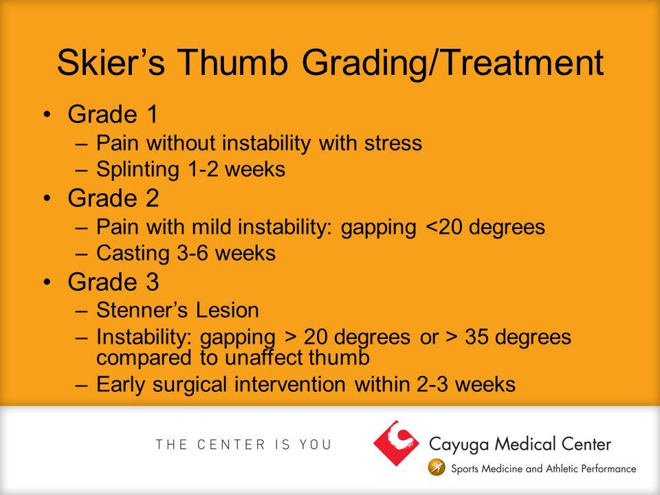 Skier's Thumb Grading/Treatment