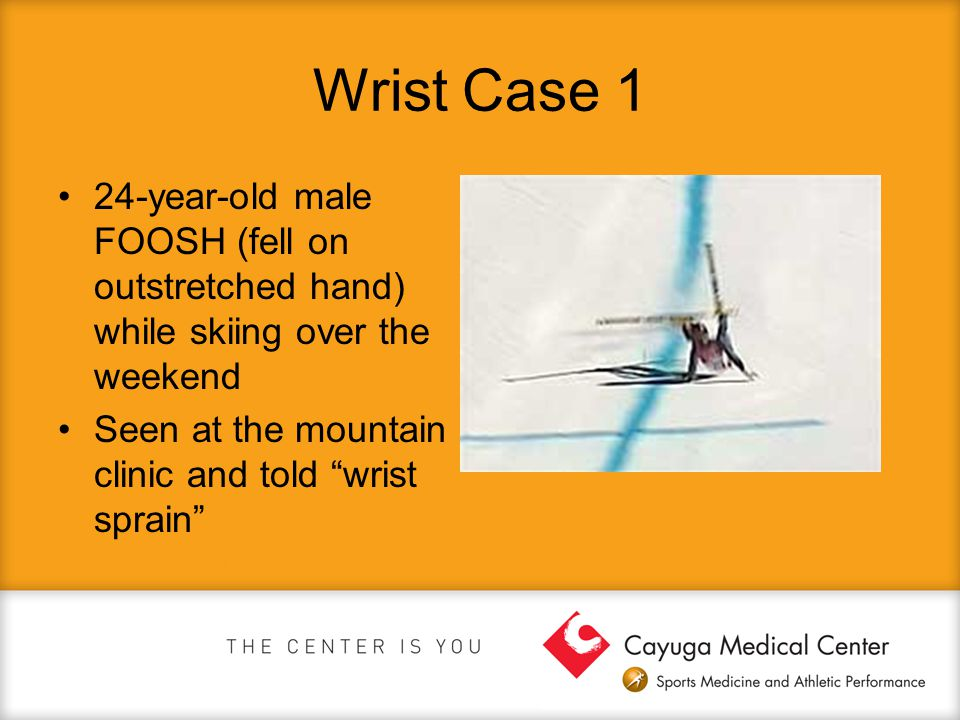 Wrist Case 1 24-year-old male FOOSH (fell on outstretched hand) while skiing over the weekend.