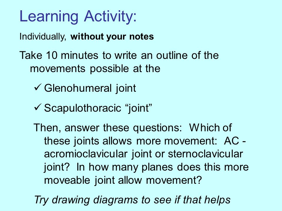 Learning Activity: Individually, without your notes. Take 10 minutes to write an outline of the movements possible at the.
