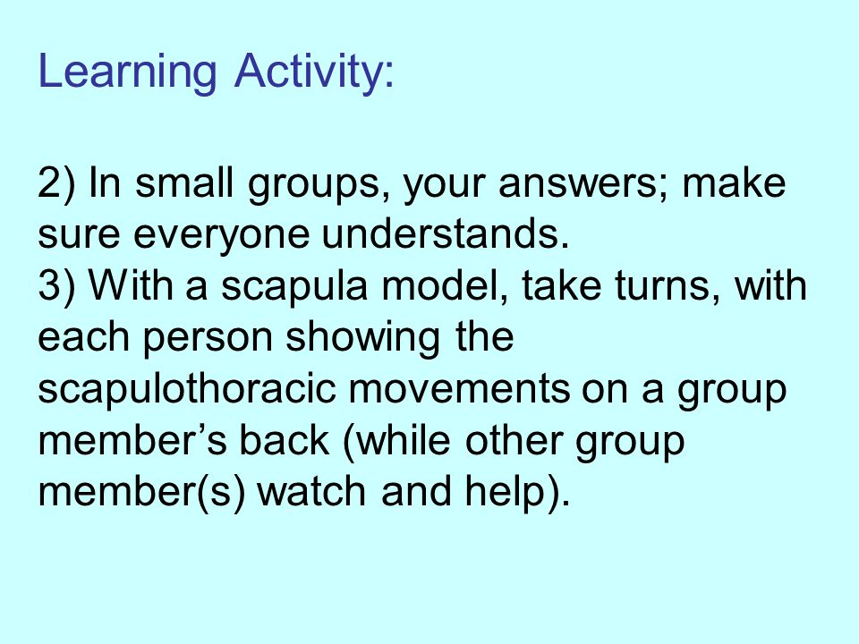 Learning Activity: 2) In small groups, your answers; make sure everyone understands.