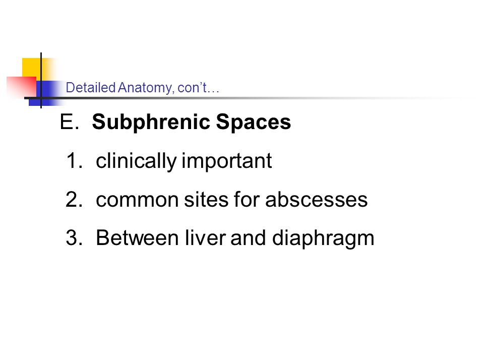 common sites for abscesses Between liver and diaphragm