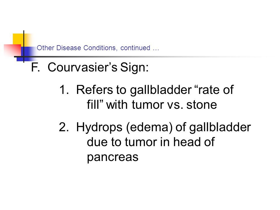 1. Refers to gallbladder rate of fill with tumor vs. stone