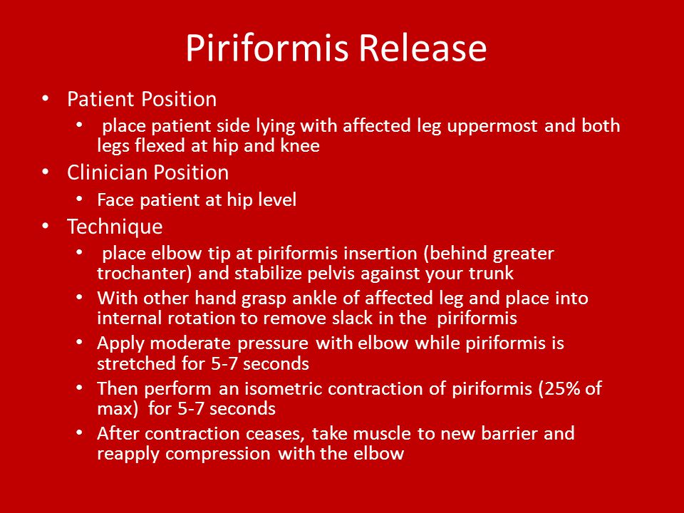 Piriformis Release Patient Position Clinician Position Technique