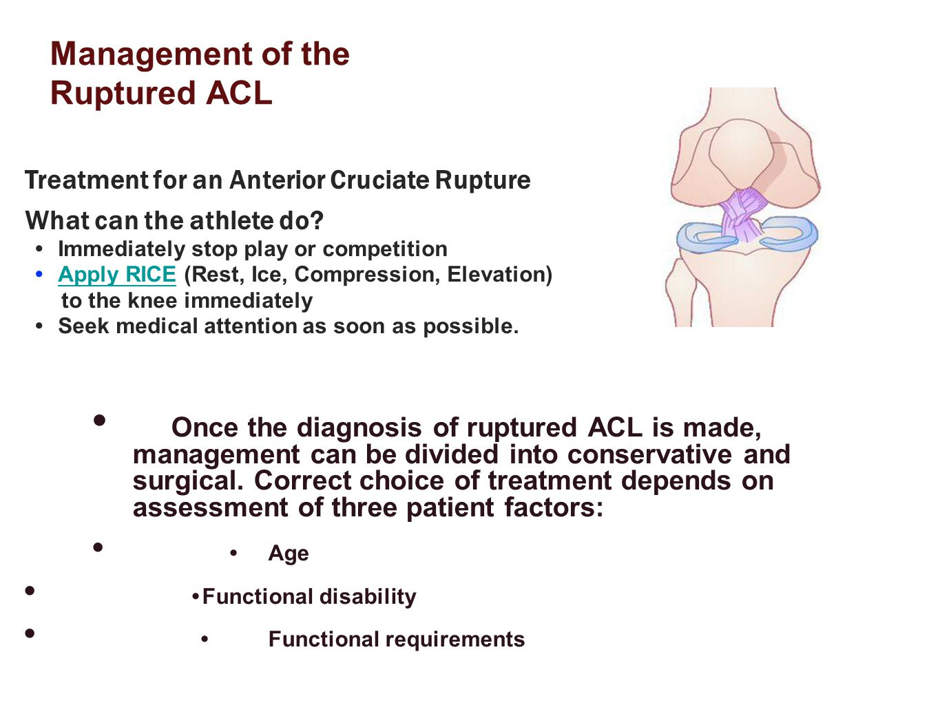Management of the Ruptured ACL