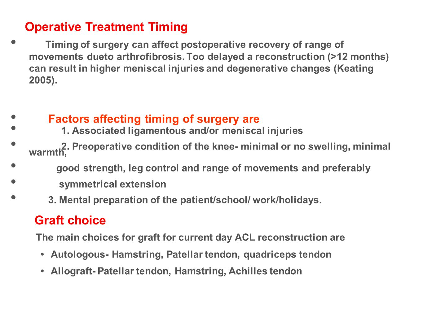 Operative Treatment Timing
