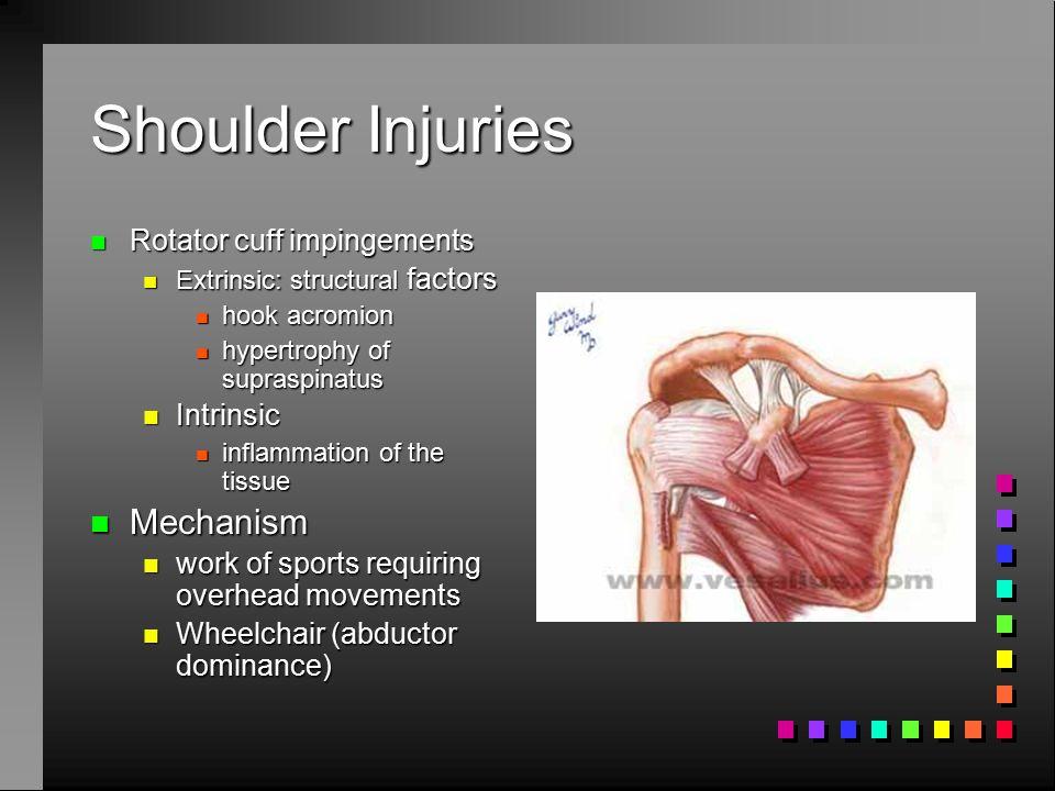 Shoulder Injuries Mechanism Rotator cuff impingements Intrinsic