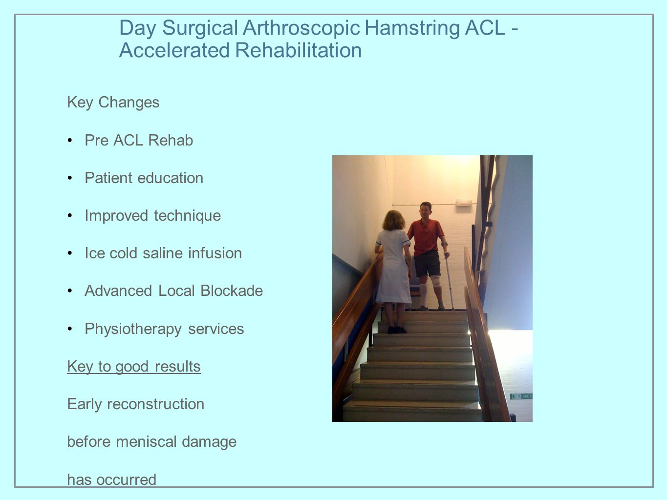 Day Surgical Arthroscopic Hamstring ACL - Accelerated Rehabilitation