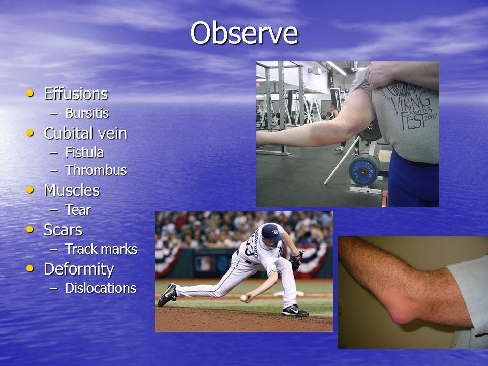 Observe Effusions Cubital vein Muscles Scars Deformity Bursitis