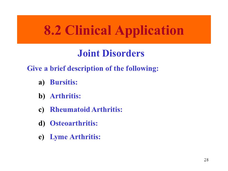 8.2 Clinical Application Joint Disorders