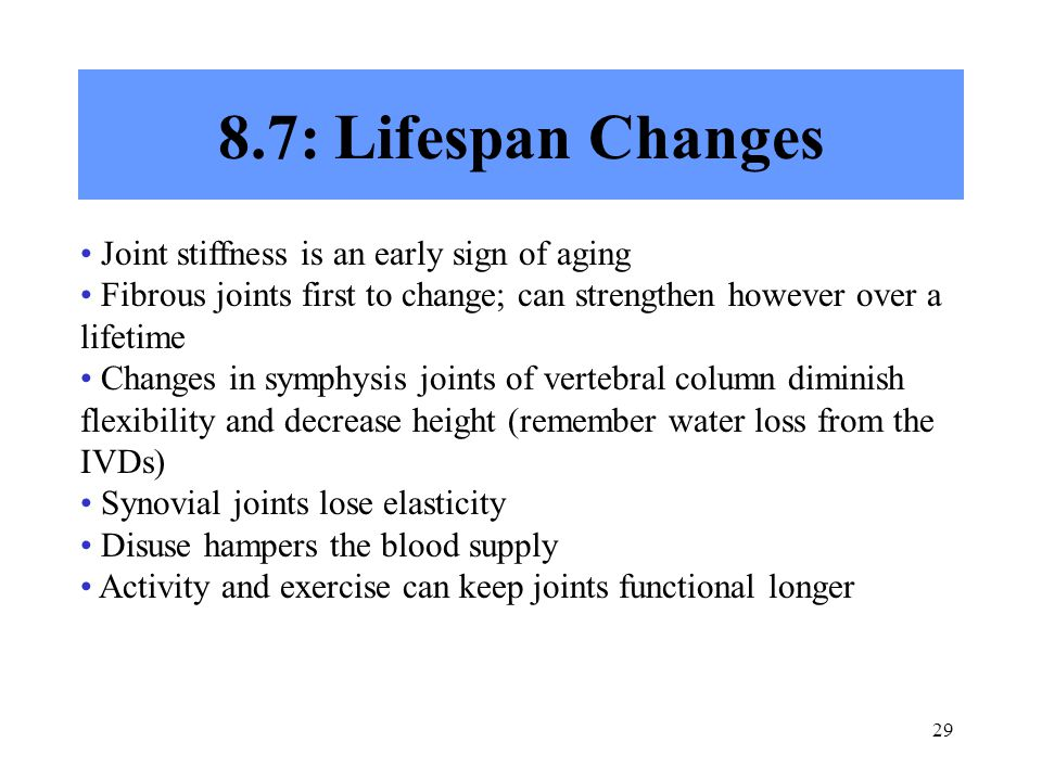 8.7: Lifespan Changes Joint stiffness is an early sign of aging