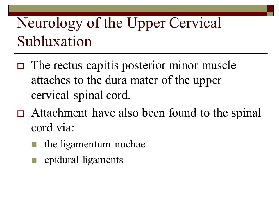 Neurology of the Upper Cervical Subluxation