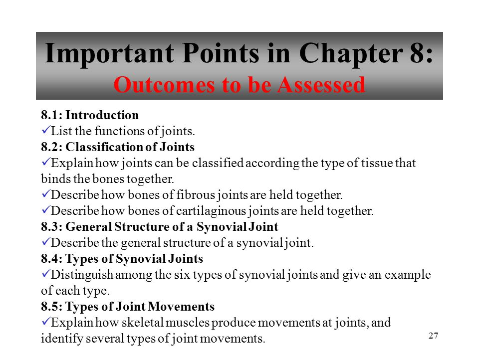 Important Points in Chapter 8: Outcomes to be Assessed