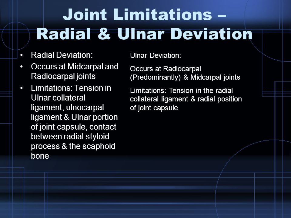 Joint Limitations – Radial & Ulnar Deviation