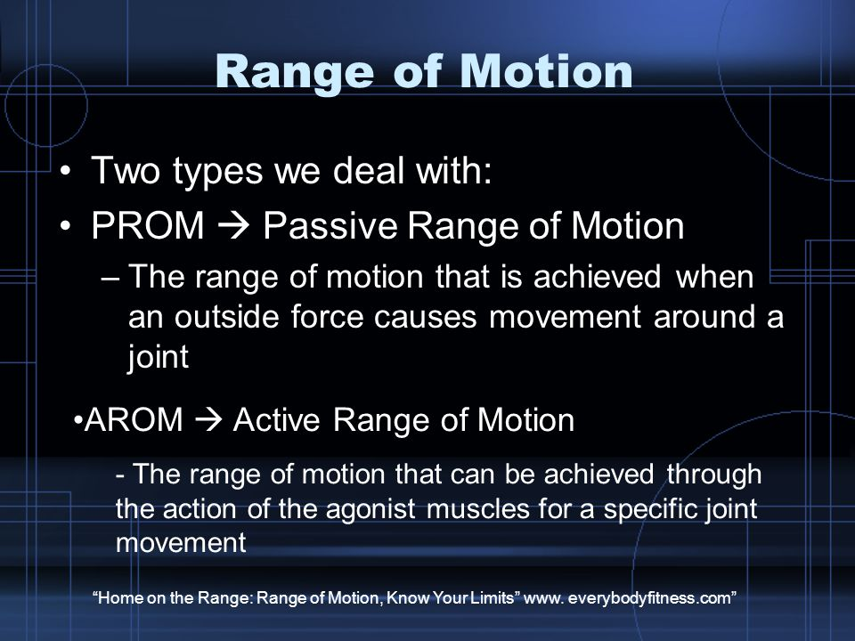 Range of Motion Two types we deal with: PROM  Passive Range of Motion