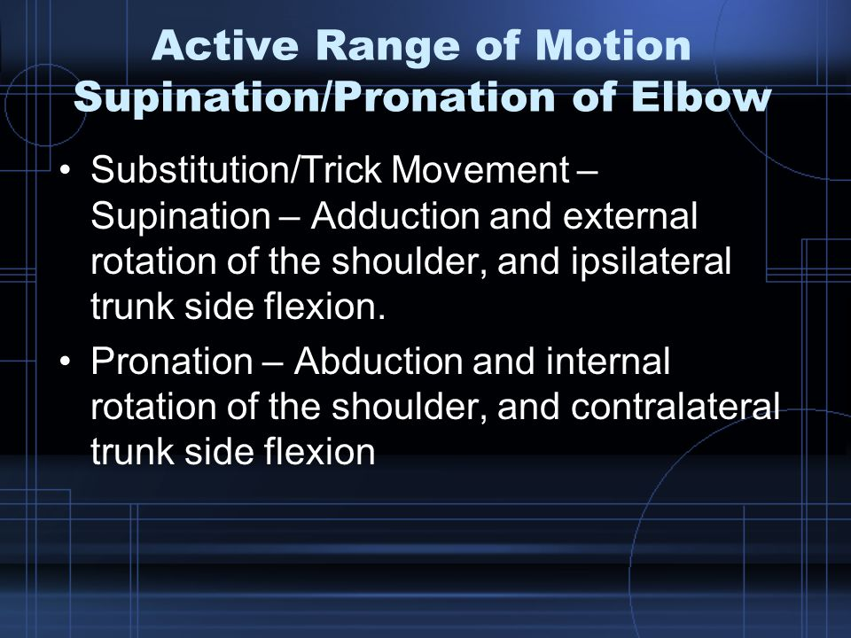 Active Range of Motion Supination/Pronation of Elbow