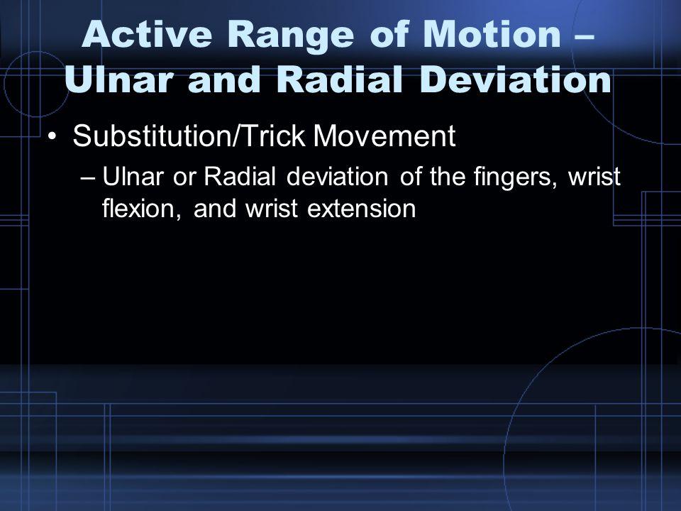 Active Range of Motion – Ulnar and Radial Deviation