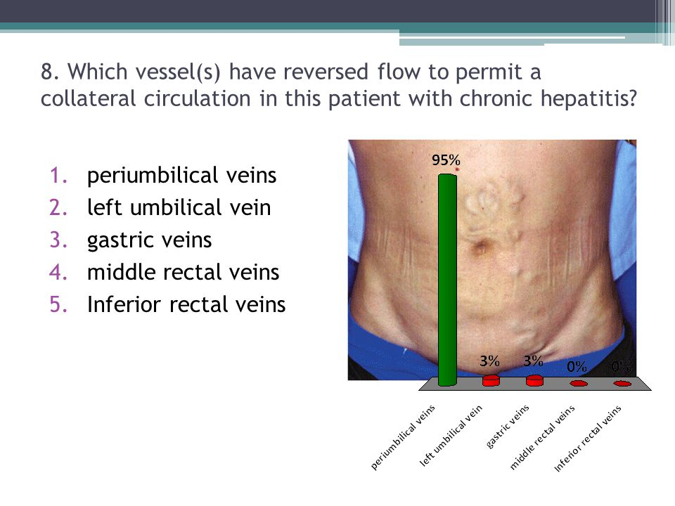 8. Which vessel(s) have reversed flow to permit a collateral circulation in this patient with chronic hepatitis