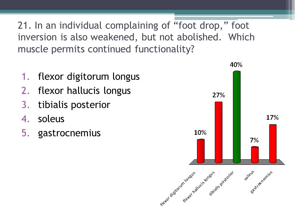 21. In an individual complaining of foot drop, foot inversion is also weakened, but not abolished. Which muscle permits continued functionality