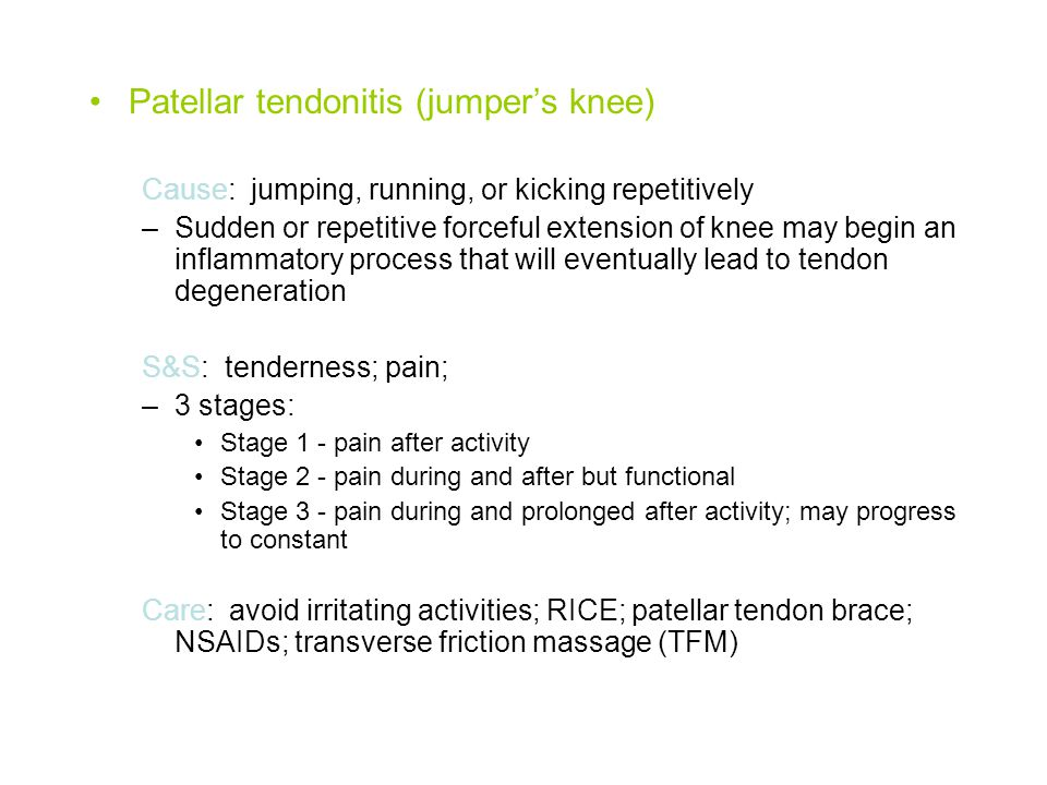 Patellar tendonitis (jumper's knee)