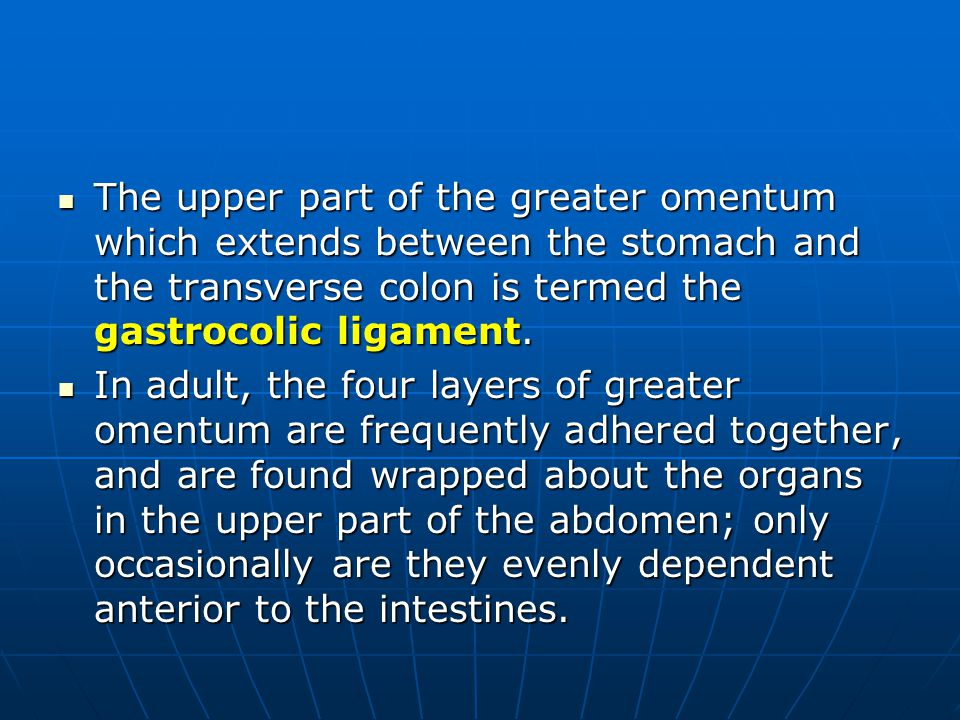 The upper part of the greater omentum which extends between the stomach and the transverse colon is termed the gastrocolic ligament.