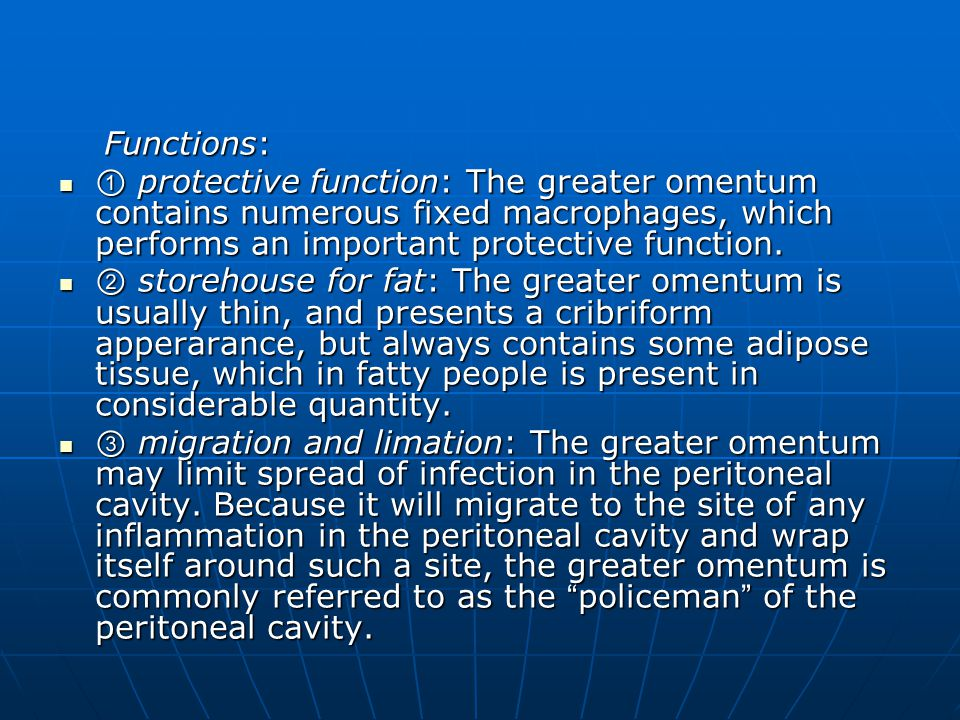 Functions: ① protective function: The greater omentum contains numerous fixed macrophages, which performs an important protective function.