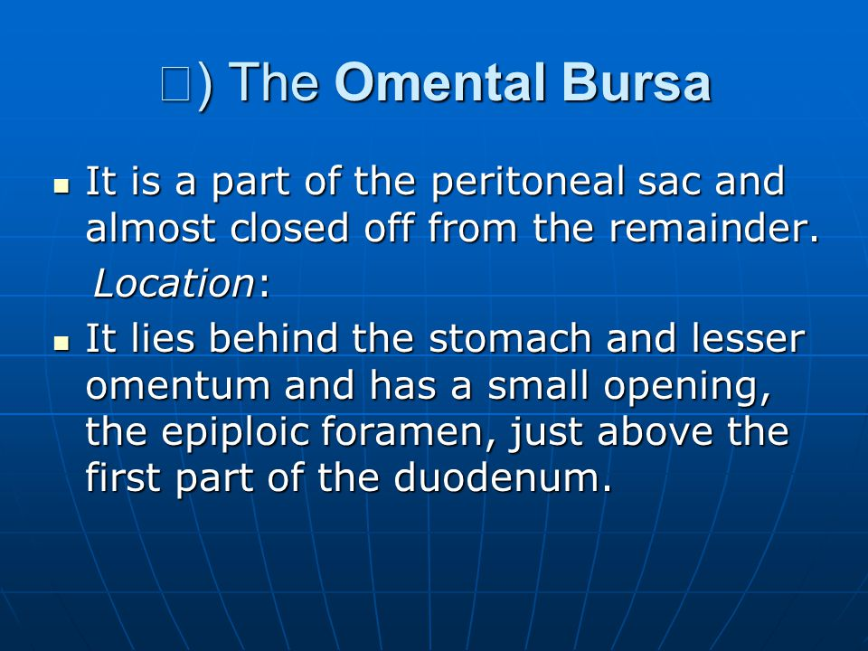 Ⅰ) The Omental Bursa It is a part of the peritoneal sac and almost closed off from the remainder. Location: