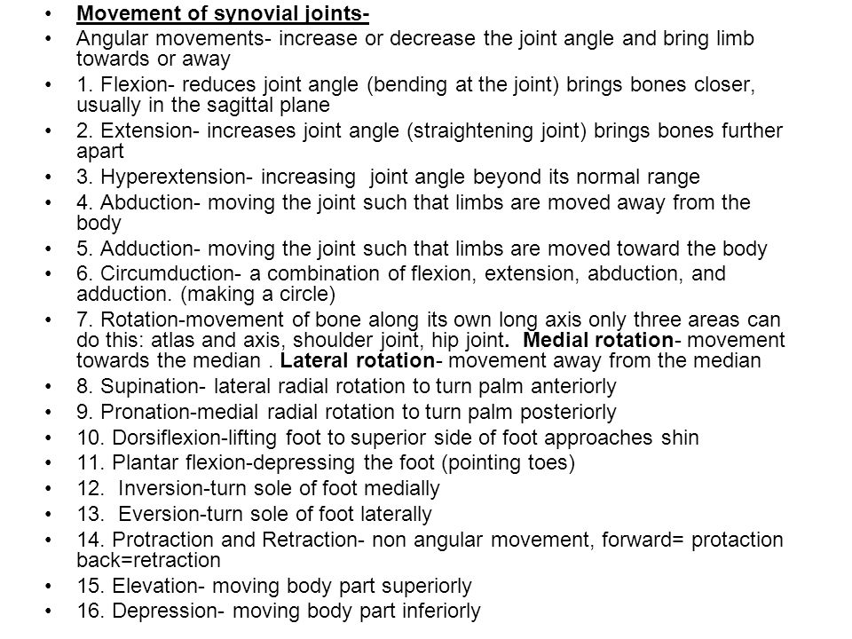 Movement of synovial joints-