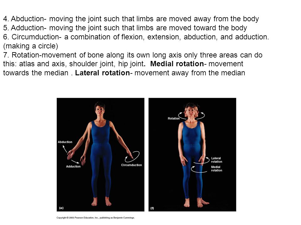 4. Abduction- moving the joint such that limbs are moved away from the body