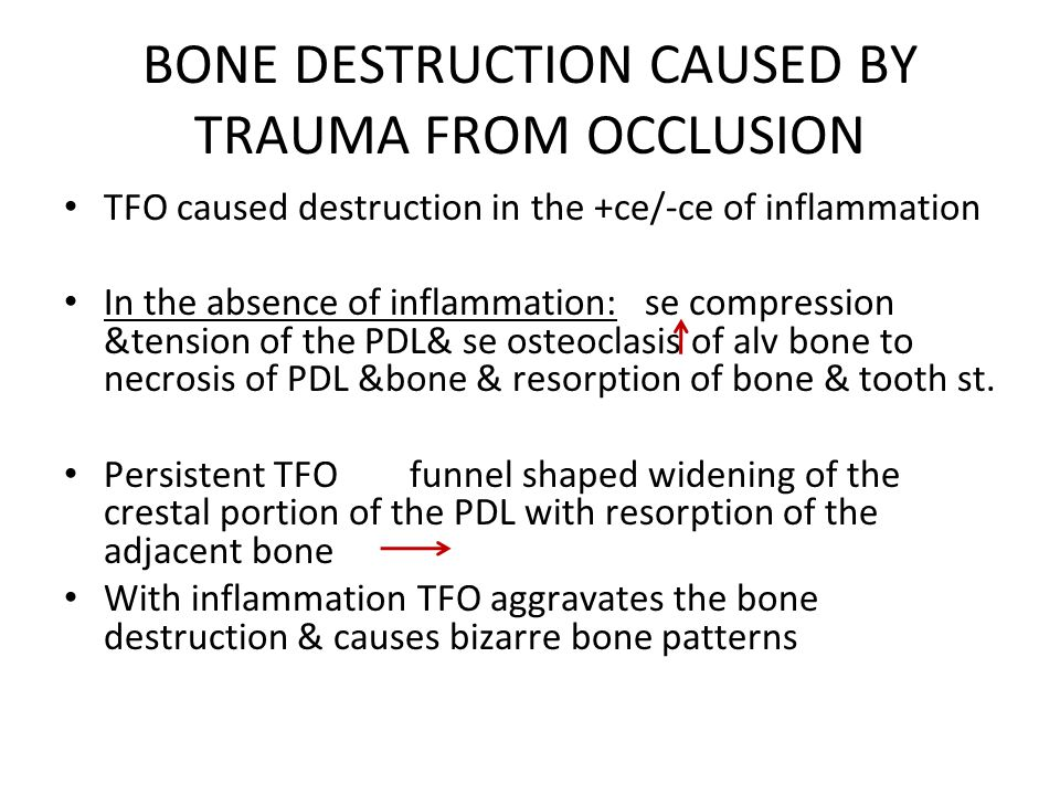 BONE DESTRUCTION CAUSED BY TRAUMA FROM OCCLUSION