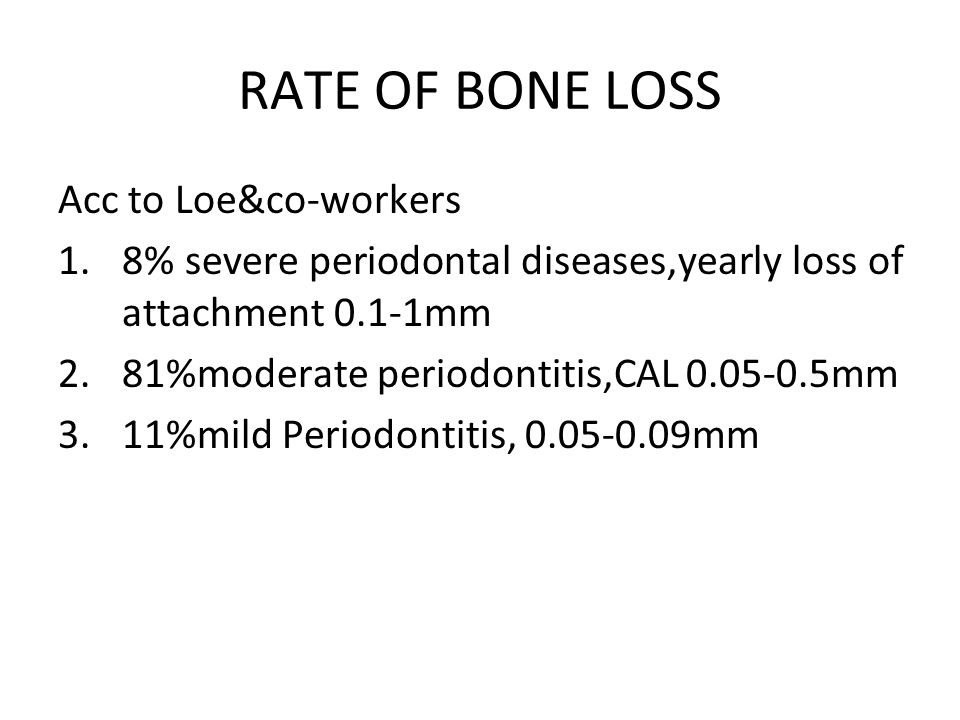 RATE OF BONE LOSS Acc to Loe&co-workers