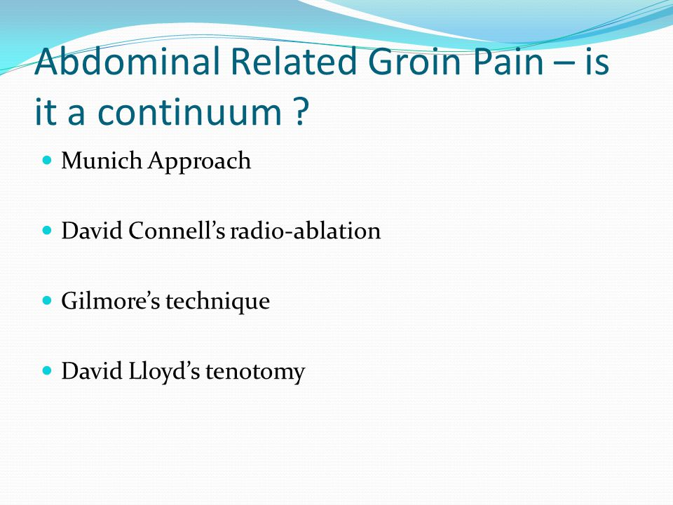 Abdominal Related Groin Pain – is it a continuum