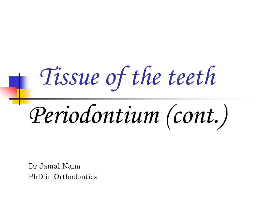 Tissue of the teeth Periodontium (cont.) Dr Jamal Naim