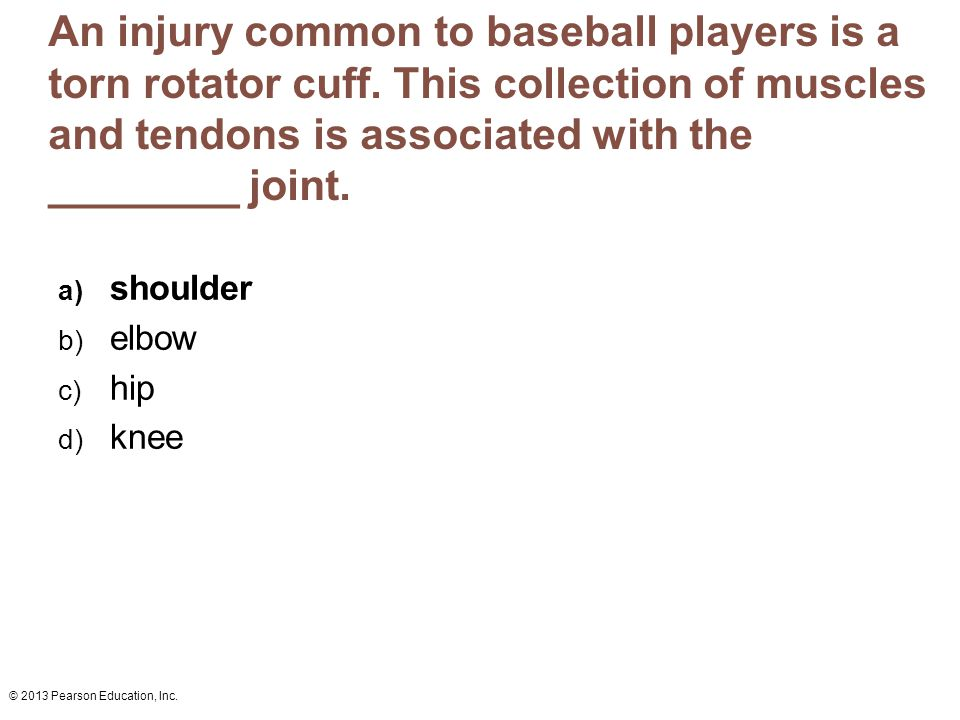 An injury common to baseball players is a torn rotator cuff