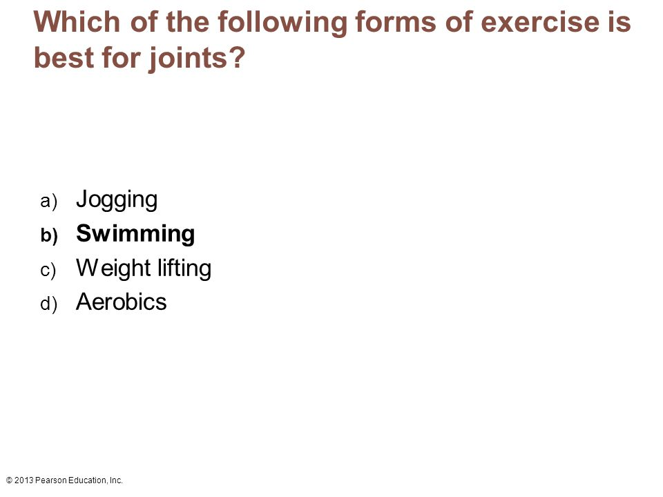 Which of the following forms of exercise is best for joints