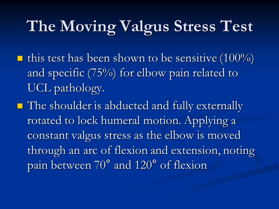 The Moving Valgus Stress Test