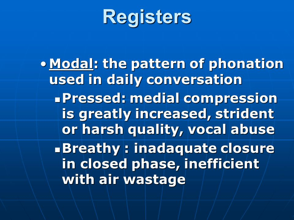 Registers Modal: the pattern of phonation used in daily conversation