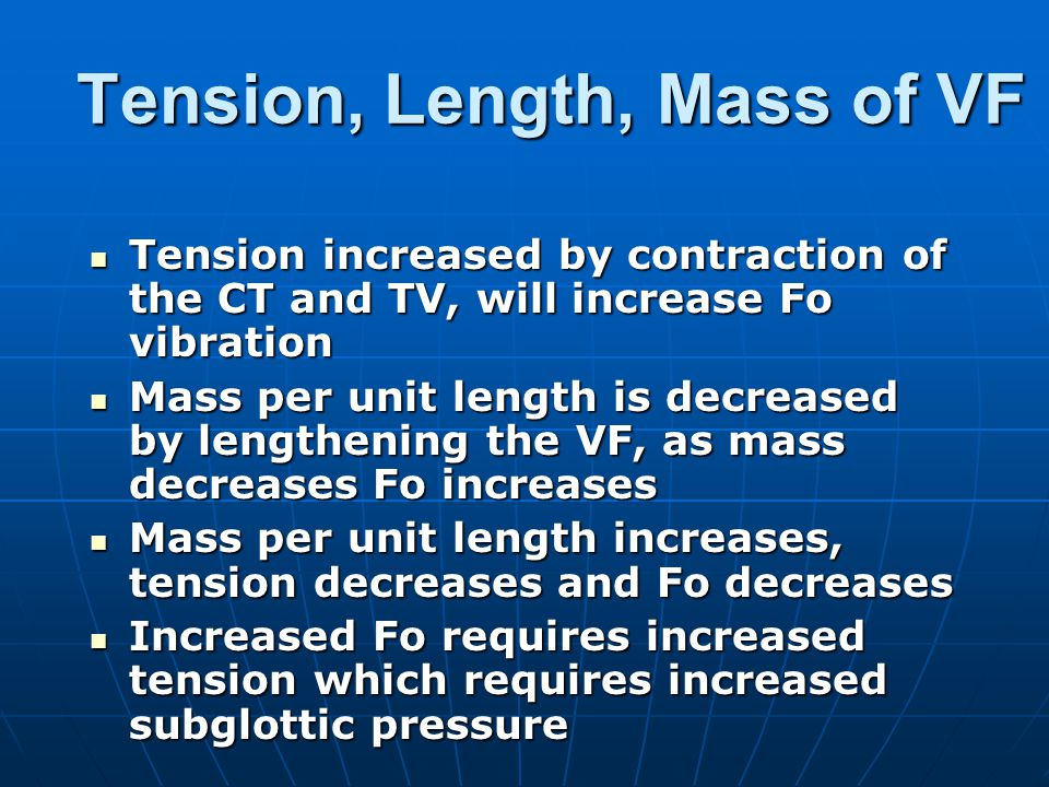 Tension, Length, Mass of VF