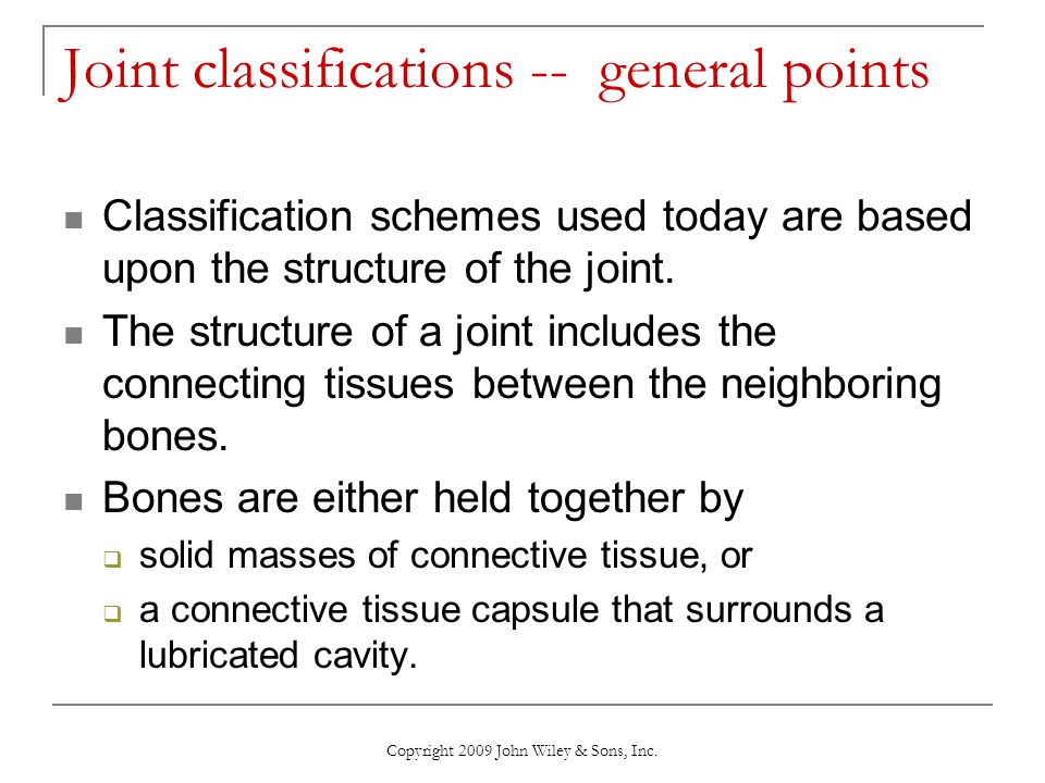 Joint classifications -- general points