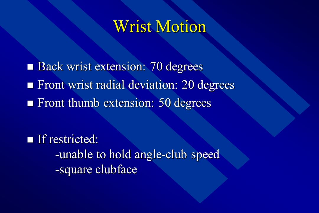 Wrist Motion Back wrist extension: 70 degrees