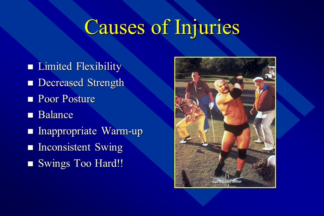 Causes of Injuries Limited Flexibility Decreased Strength Poor Posture