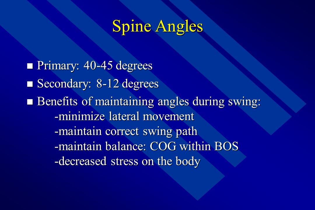 Spine Angles Primary: 40-45 degrees Secondary: 8-12 degrees