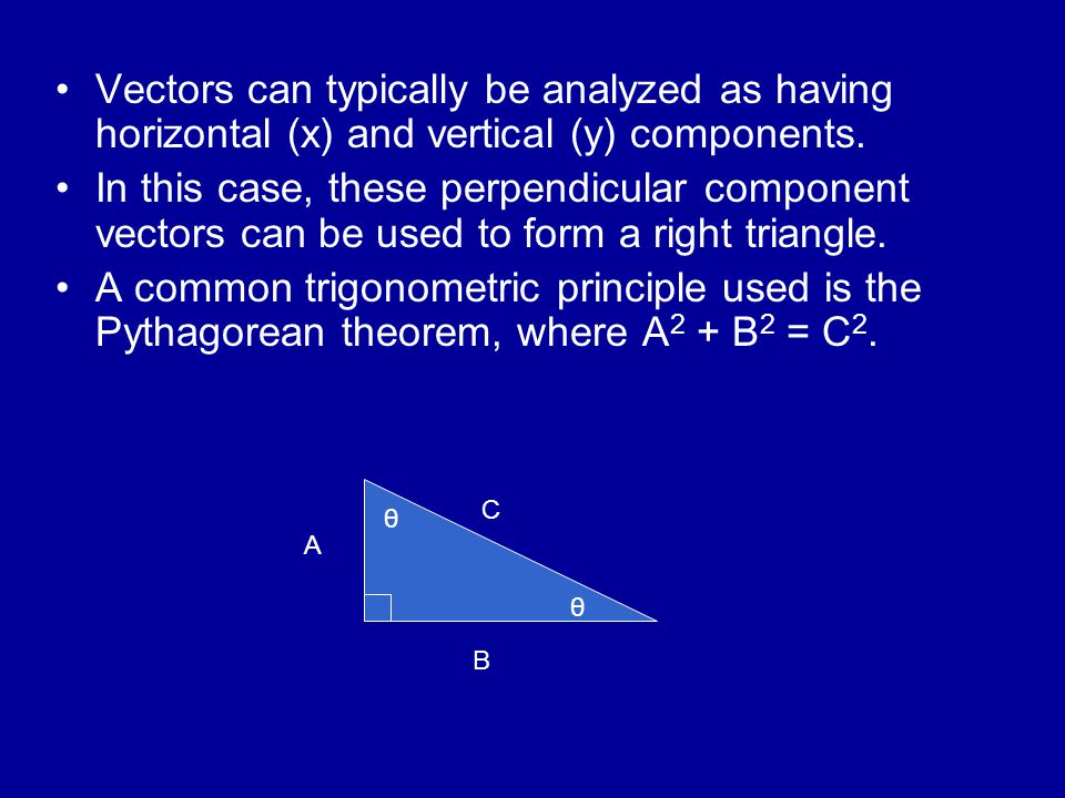 Vectors can typically be analyzed as having horizontal (x) and vertical (y) components.