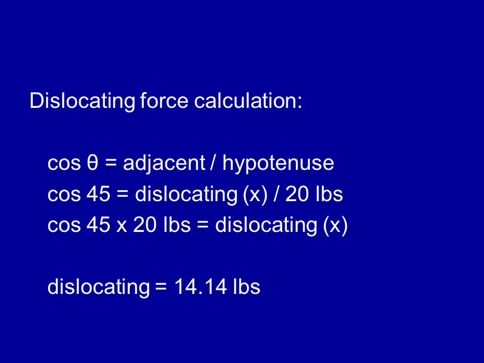 Dislocating force calculation: