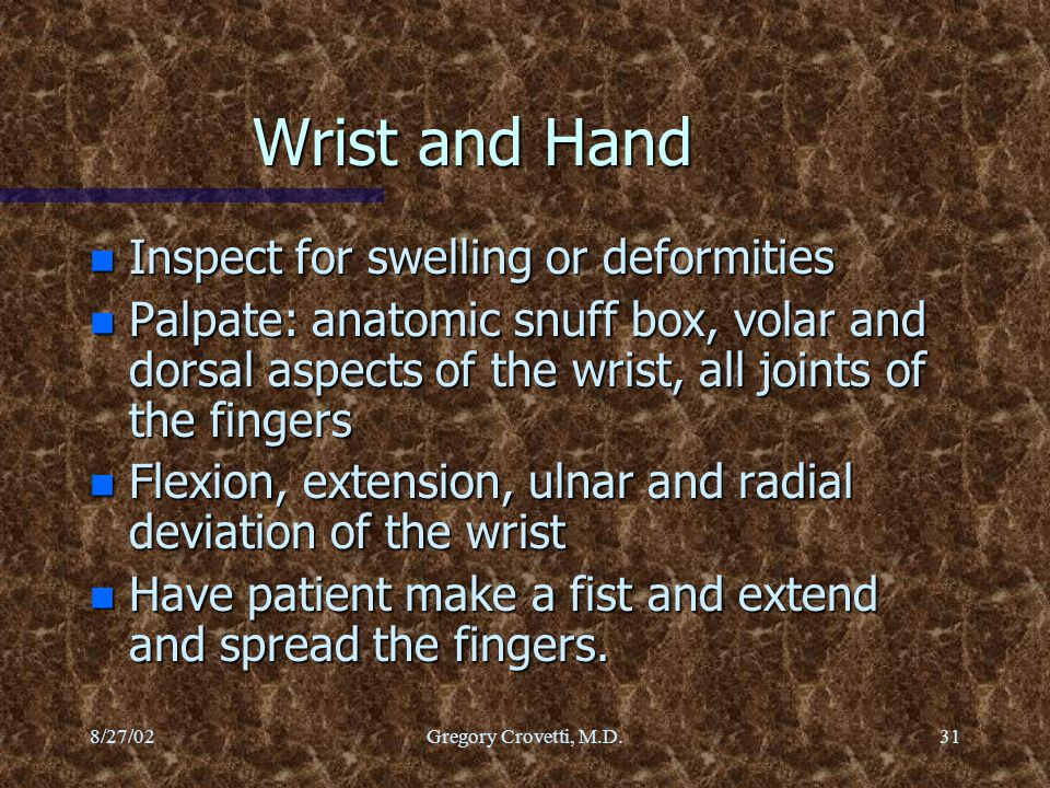 Wrist and Hand Inspect for swelling or deformities