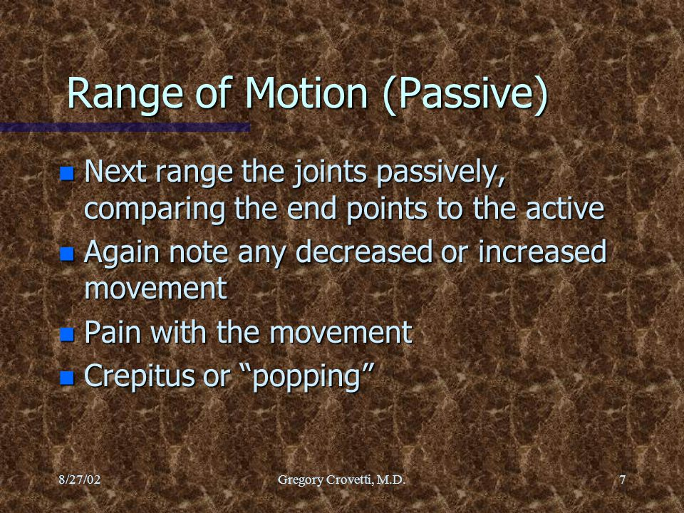 Range of Motion (Passive)