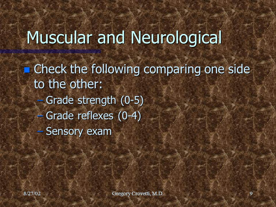 Muscular and Neurological