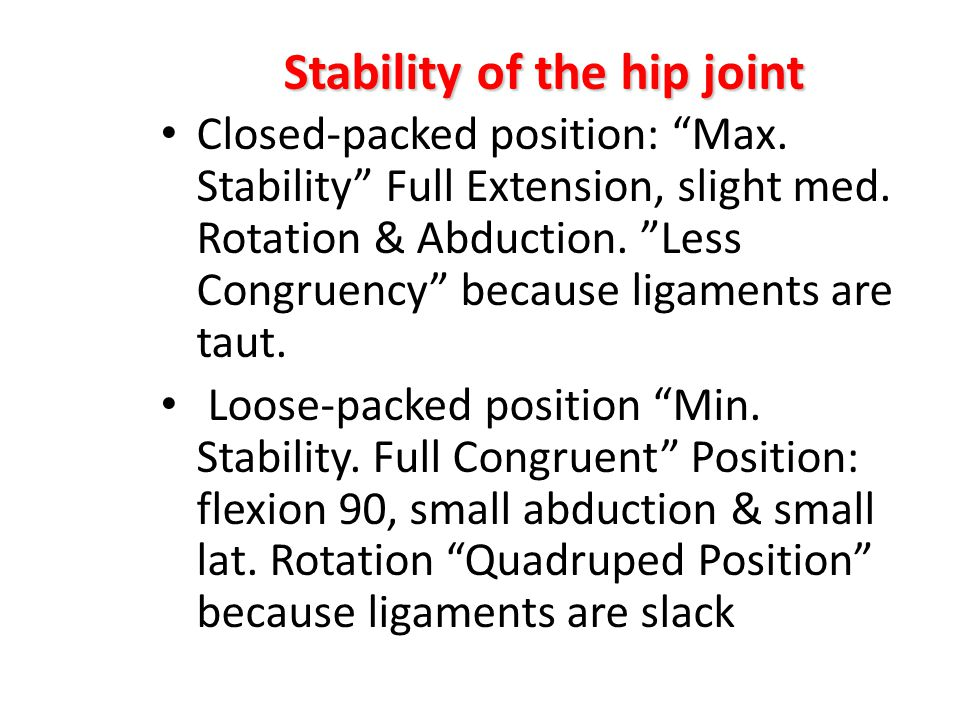 Stability of the hip joint