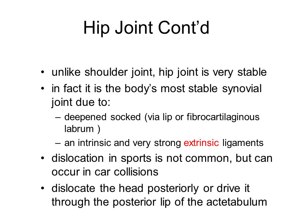 Hip Joint Cont'd unlike shoulder joint, hip joint is very stable