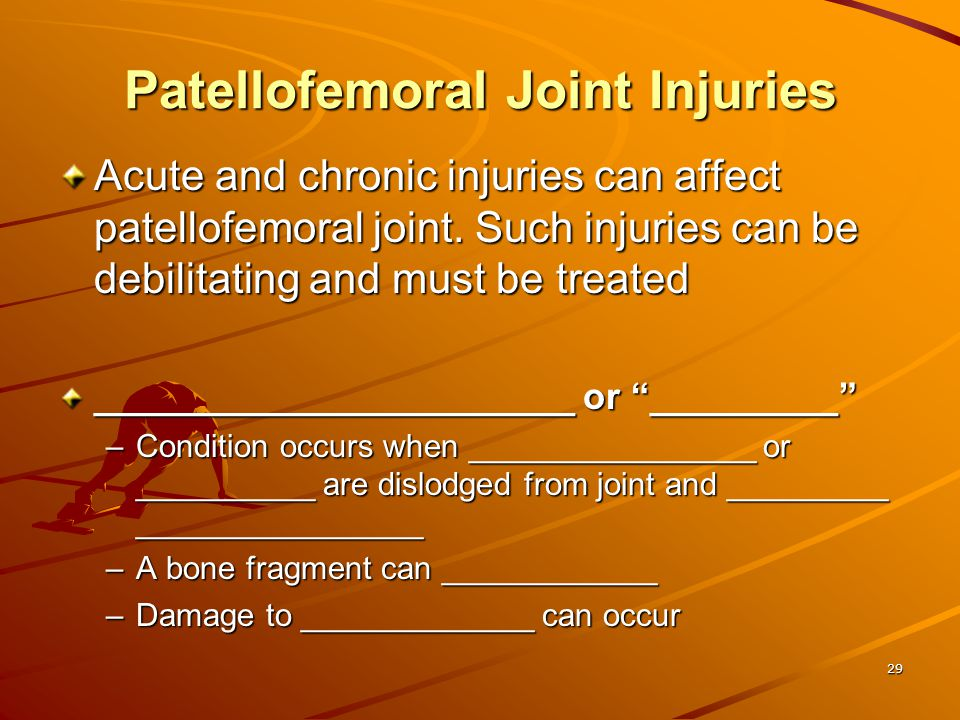 Patellofemoral Joint Injuries
